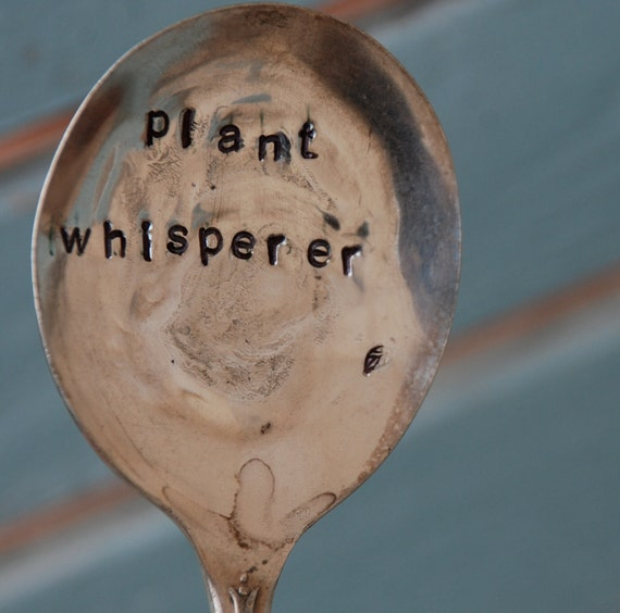 Plant Whisperer hand stamped Spoon with leaf stamp Garden Art