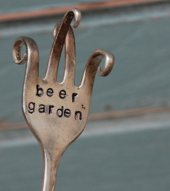 Beer Garden twisted Hand Stamped Fork garden art TWISTED curled fingers
