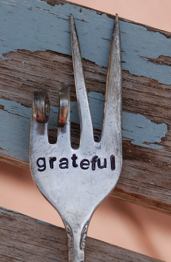Grateful hand stamped PEACE sign twisted fork Garden Art
