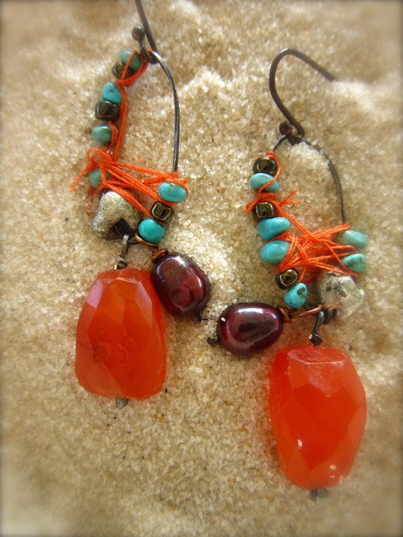 Lil' Indian Tufts with Carnelian and Thread,Tribal,Gypsy,Dangles
