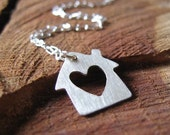 Home - Handmade Sterling Silver House with Heart Necklace koimetals