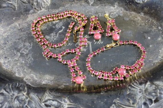 Vintage PINK Rhinestone and Moonstone Parure Set