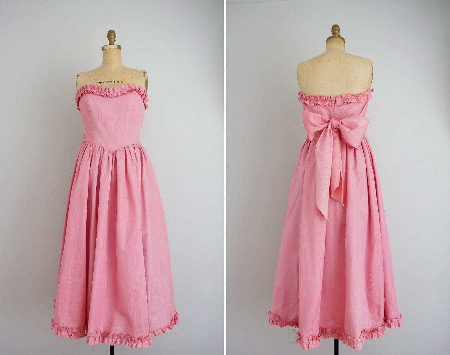 Vintage 1980s Prom Dress Pink 80s Prom Dress Sweetheart