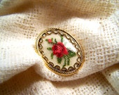 Vintage Goldtone Petit Point Red Rose Tapestry Pin or Pendant