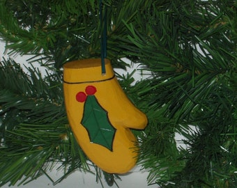Hand Carved Christmas Ornament - Mitten with Poinsettia Leaf