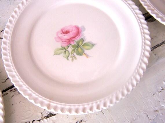 Vintage Rose Saucers Plates