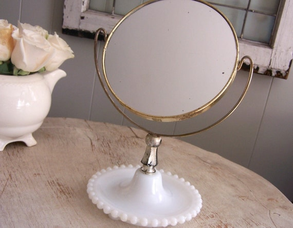 Vintage Hobnail Milk Glass Vanity Mirror