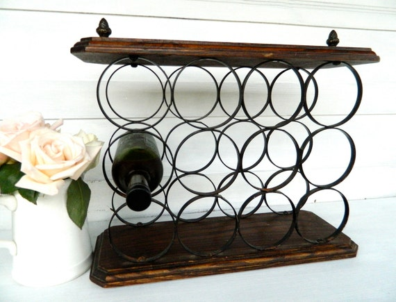 Vintage Wine Rack Wood Iron