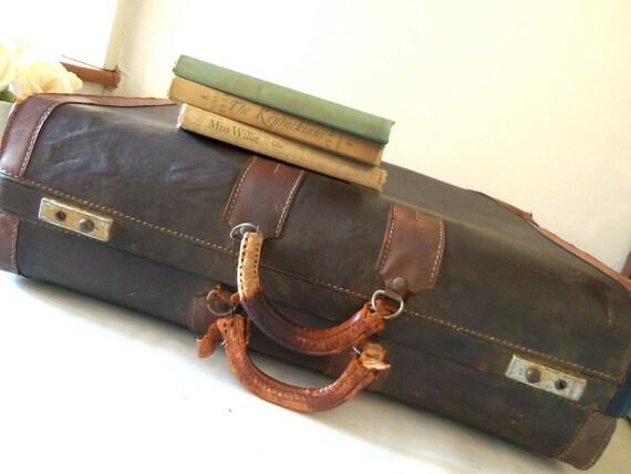Vintage Suitcase Luggage Brown Black