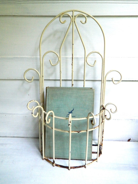 Vintage White Metal Wire Planter Hanging Shabby Chic