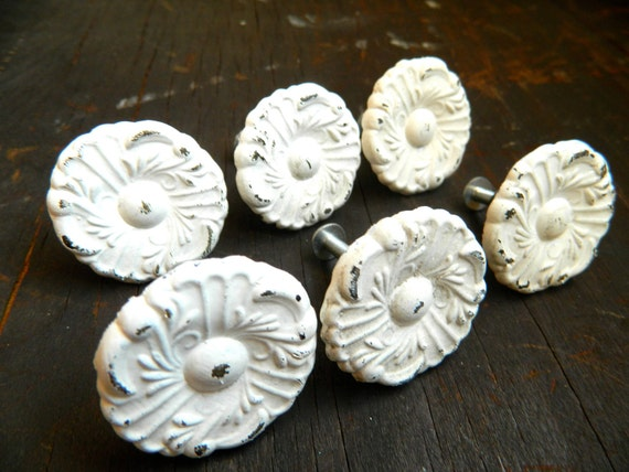 Hold for Jess- 12 Vintage Shabby Chic White Drawer Pulls Knobs