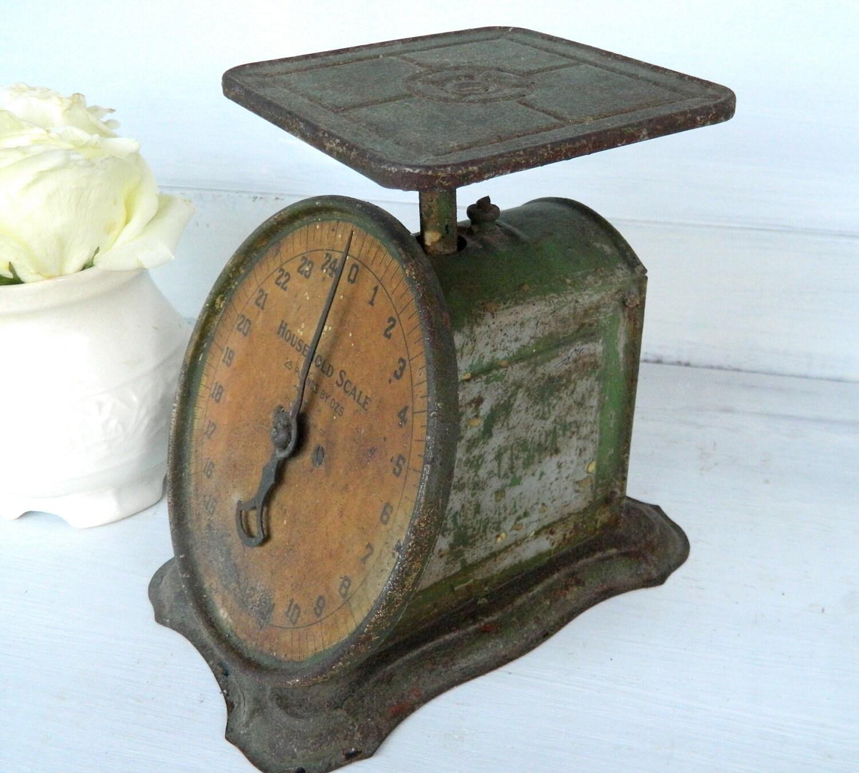 Antique Kitchen Scale: Vintage Kitchen Scale Metal Green