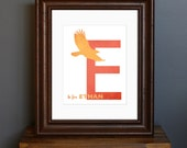 Custom Child's Name Art Print, Personalized with Initial and Animal - Red Color Scheme - nursery art, baby shower gift - 8 x 10