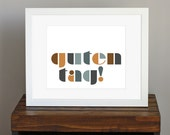 Typographic Art Print - German greeting, Guten Tag - manly guy gift, travel, hello, fun wall art - gray and brown - 8 x 10