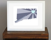 Connecticut Art Print - State of Love - Home is wherever I'm with you quote - personalized gift - shades of blue - 8 x 10