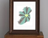 Ireland Love Art Print - Home is wherever I'm with you quote - gift, travel art, country print - green and gray - 8 x 10