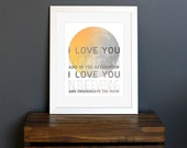 Sun and Moon Art Print - I Love You, 1980s Skinnamarink Song Lyrics - love gift, wall decor, nursery, kid's room - 8 x 10