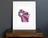 Wisconsin Art Print - State of Love - Home is wherever I'm with you quote - custom design, housewarming gift - navy, pink, aqua - 8 x 10