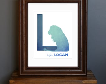 Personalized Child's Name Art Print, with Initial and Animal - Blue Color Scheme - nursery decor, baby shower / new mom gift - 8 x 10