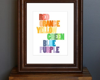 Colors Typography Art Print - Educational Print for Children's Room - rainbow colors, bright wall decor, art lover gift - 8 x 10