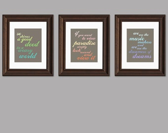 Set of 3 Typography Inspirational Art Prints - Triptych of Willy Wonka quotes - rainbow colors - classic movie, bright wall art -  8 x 10