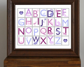 Animal Alphabet, Educational Nursery Art Print - Princess Colors - girl's room, new baby gift, pink and purple - 11 x 14