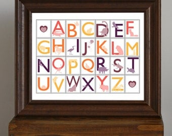 Animal Alphabet, Nursery Art Print - Sunset Colors - baby shower gift - educational, learning, colorful room decor - 11 x 14