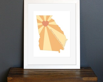 State of Love, Georgia Art Print - Home is wherever I'm with you quote - home decor or gift - peach, yellow, and coral - 8 x 10