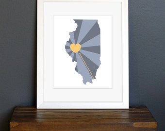 State of Love, Illinois Art Print - Home is wherever I'm with you quote - gift or home decor - blue and golden yellow - 8 x 10