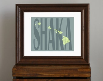 State of Hawaii Art Print - Shaka - teal and green - vintage, retro, beach, travel art, gift or home decor - 8 x 10