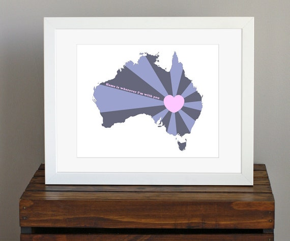 Australia Love Art Print - Home is wherever I'm with you quote - travel art, home decor - navy blue, purple, pink - 8 x 10