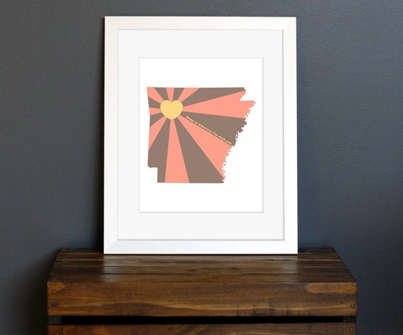 Arkansas Art Print - State of Love - Home is wherever I'm with you quote - personalized gift, wall decor - brown, yellow, red - 8 x 10