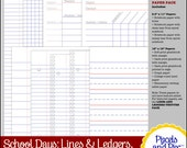 School Days Digital Scrapbooking Kit: Lines and Ledgers Plain and Simple Paper Pack