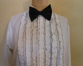 1970s Mens Ruffled Tuxedo Shirt 70s Lion of Troy Formals