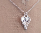 sterling silver rustic heart necklace personalized