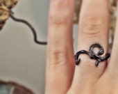oxidized sterling silver ring flourish tattoo