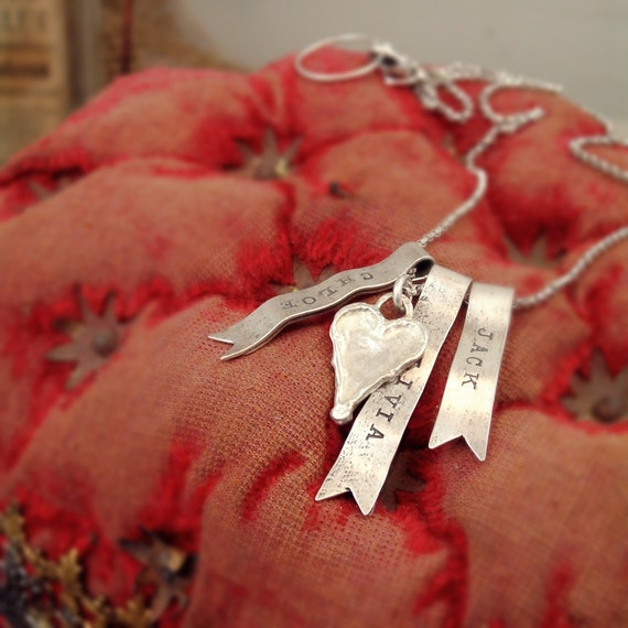 sterling silver necklace ribbon charm personalized