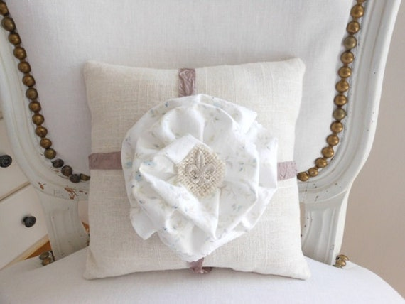 Decorative pillow, linen pillow, light blue floral and fleur-de-lis fabric flower
