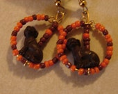Pierced Earrings Orange and Brown Cleveland Brown Dog Pound Fan Earrings