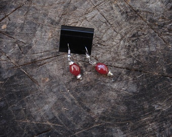 Pierced Earrings Iridescent Red Ceramic Beads