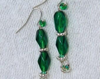 Pierced Earrings  Emerald Green Faceted Czech Glass Erin Go Bragh