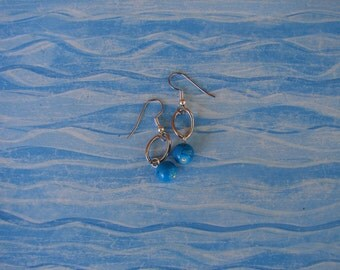 Pierced Earrings Upcycled Turquoise Blue Acrylic Beads and Upcycled Chain Links