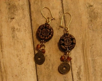 Pierced Earrings Chinese Coin Minis and Carved Wooden Disks