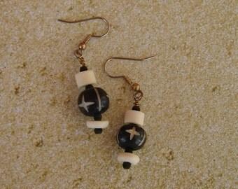 Pierced Earrings Black and White Tribal Wood and Bone Dangles