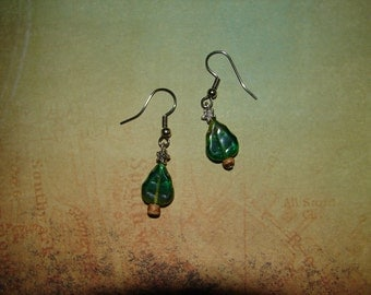 Pierced Earrings Christmas Trees Green Glass with Real Wood Trunks