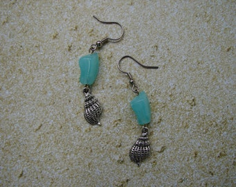 Pierced Earrings Upcycled Aqua Acrylic Beads and Metal Tulip Shells