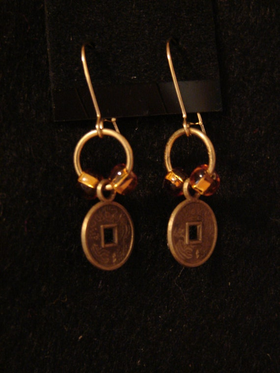 Pierced Earrings Miniature Chinese Coin Replica Dangles