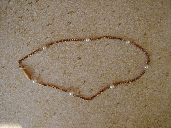 Upcycled Pearl and Chain Plus Size Anklet with Magnetic Catch