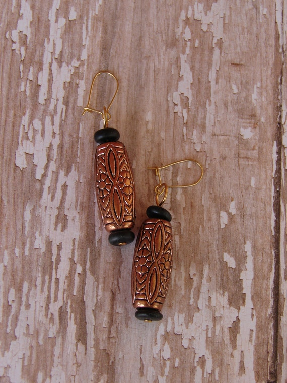 Pierced Earrings Copper Look Bead Dangles Ultralight Weight