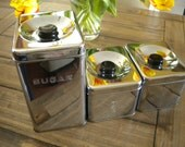Set of 3 Vintage Art Deco Lincoln Beautyware Retro Chrome Kitchen Canisters
